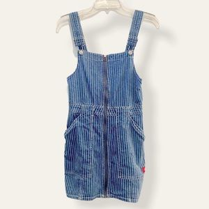 Dickies Blue & White Stripe Zip Up Overall Dress